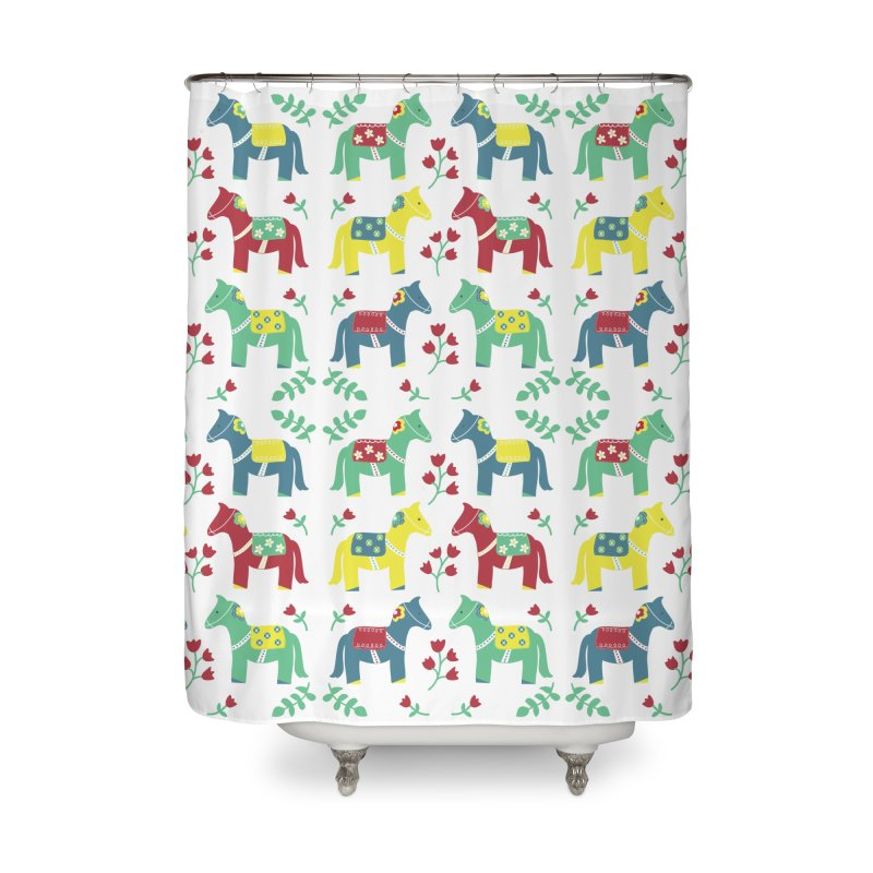 Scandinavian Horses Print Home Shower Curtain by prettyprismatic's Artist Shop