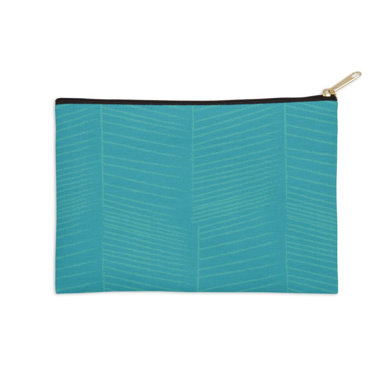 Herringbone - Teal Accessories Zip Pouch by prettyprismatic's Artist Shop