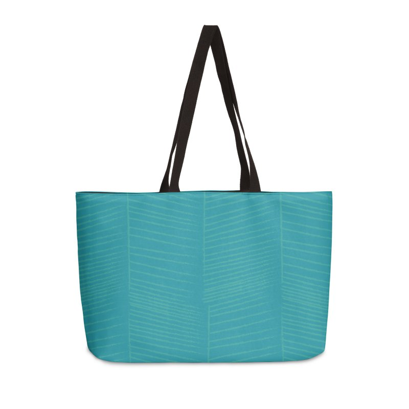 Herringbone - Teal Accessories Weekender Bag Bag by prettyprismatic's Artist Shop