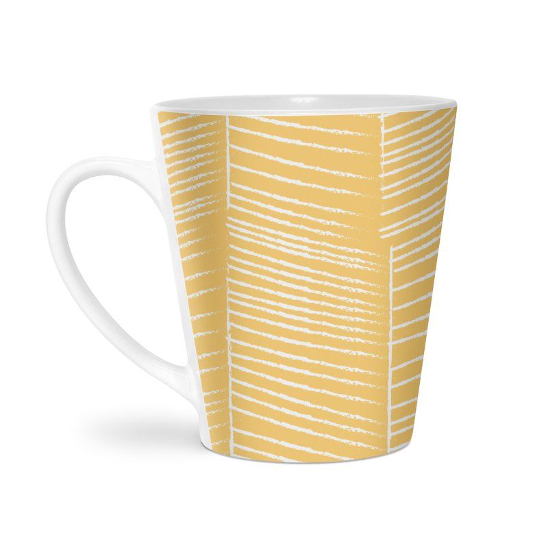 Herringbone - Marigold Accessories Latte Mug by prettyprismatic's Artist Shop