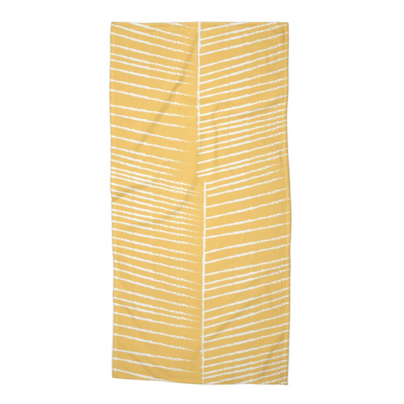 Herringbone - Marigold Accessories Beach Towel by prettyprismatic's Artist Shop