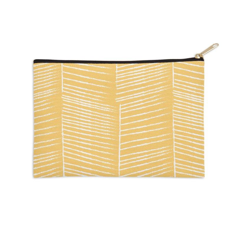 Herringbone - Marigold Accessories Zip Pouch by prettyprismatic's Artist Shop