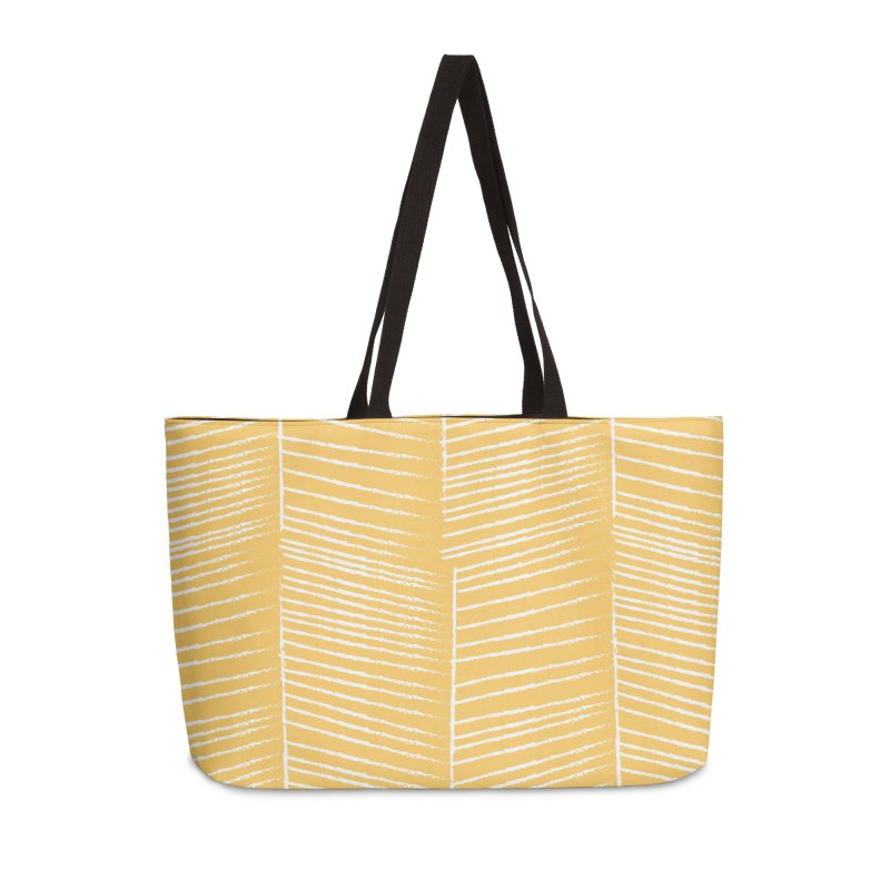 Herringbone - Marigold Accessories Weekender Bag Bag by prettyprismatic's Artist Shop