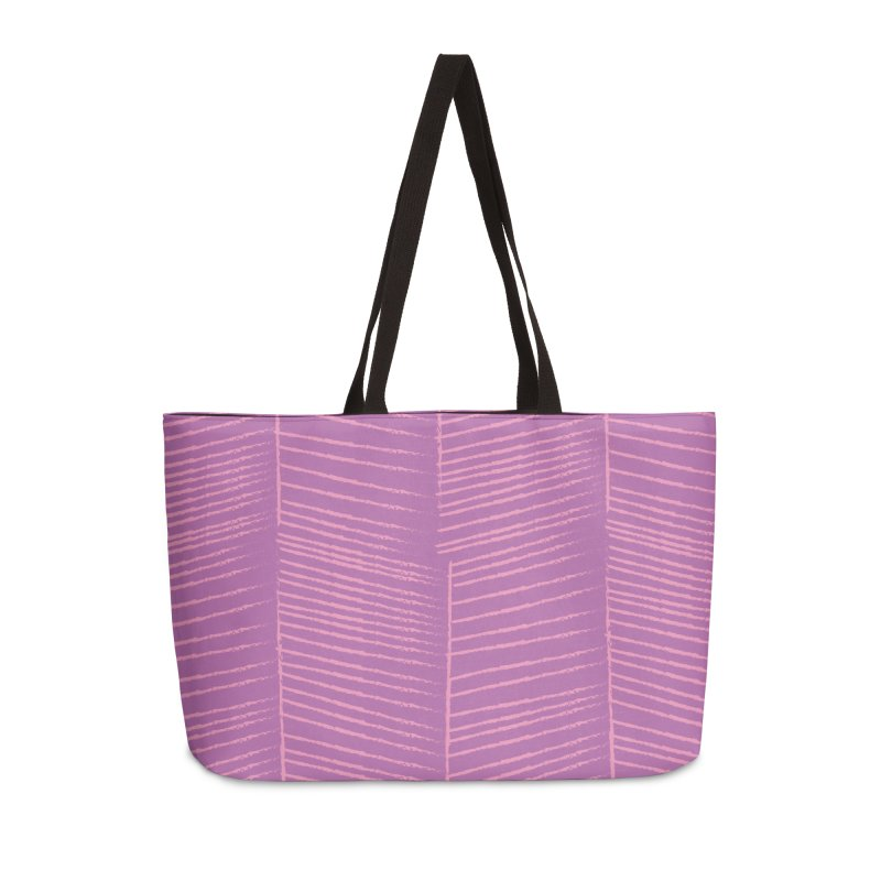 Herringbone - Orchid Accessories Weekender Bag Bag by prettyprismatic's Artist Shop