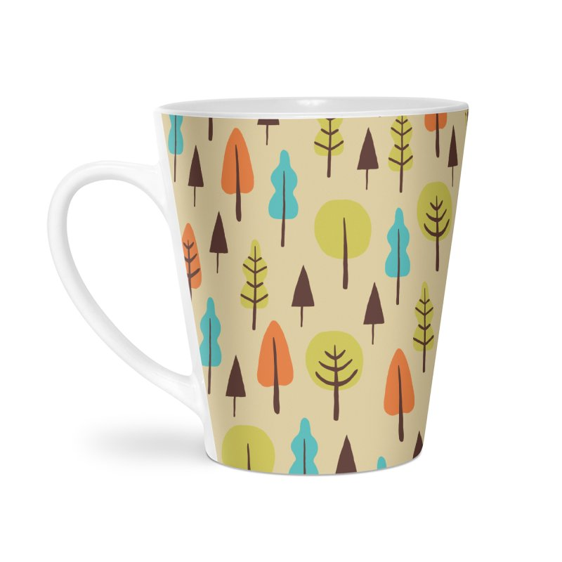 Fancy Forest - Retro Colors Accessories Latte Mug by prettyprismatic's Artist Shop