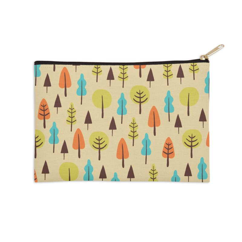 Fancy Forest - Retro Colors Accessories Zip Pouch by prettyprismatic's Artist Shop