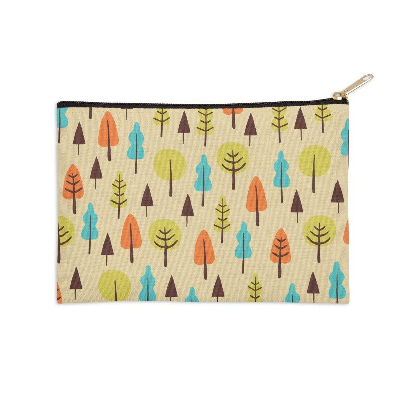 Fancy Forest - Retro Colors Accessories Zip Pouch by prettyprismatic's Artist Shop
