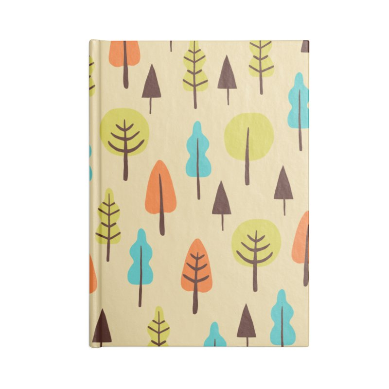 Fancy Forest - Retro Colors Accessories Blank Journal Notebook by prettyprismatic's Artist Shop