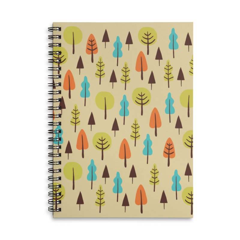 Fancy Forest - Retro Colors Accessories Lined Spiral Notebook by prettyprismatic's Artist Shop