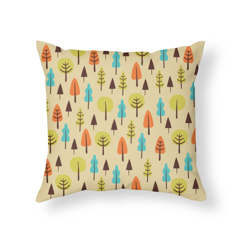 Fancy Forest - Retro Colors Home Throw Pillow by prettyprismatic's Artist Shop