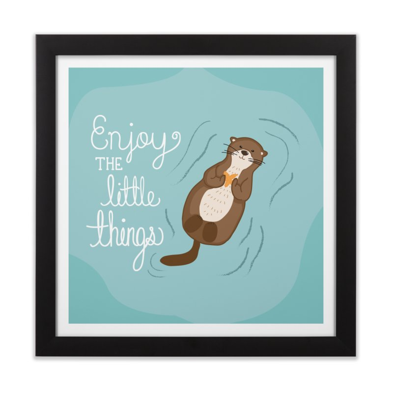 """Enjoy the little things"" Otter Print Home Framed Fine Art Print by prettyprismatic's Artist Shop"