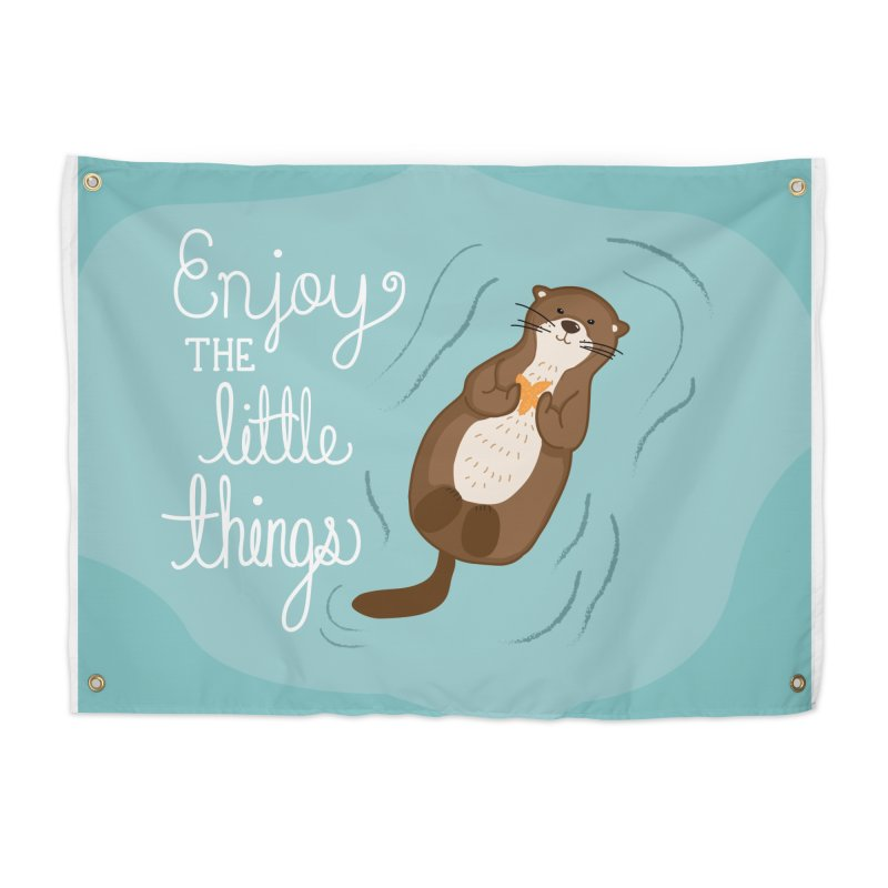 """""""Enjoy the little things"""" Otter Print Home Tapestry by prettyprismatic's Artist Shop"""