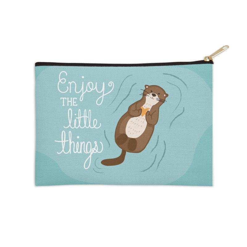 """Enjoy the little things"" Otter Print Accessories Zip Pouch by prettyprismatic's Artist Shop"