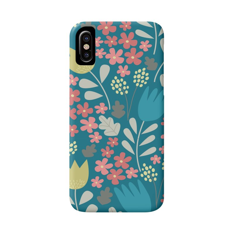 Meadow - Teal in iPhone X / XS Phone Case Slim by prettyprismatic's Artist Shop