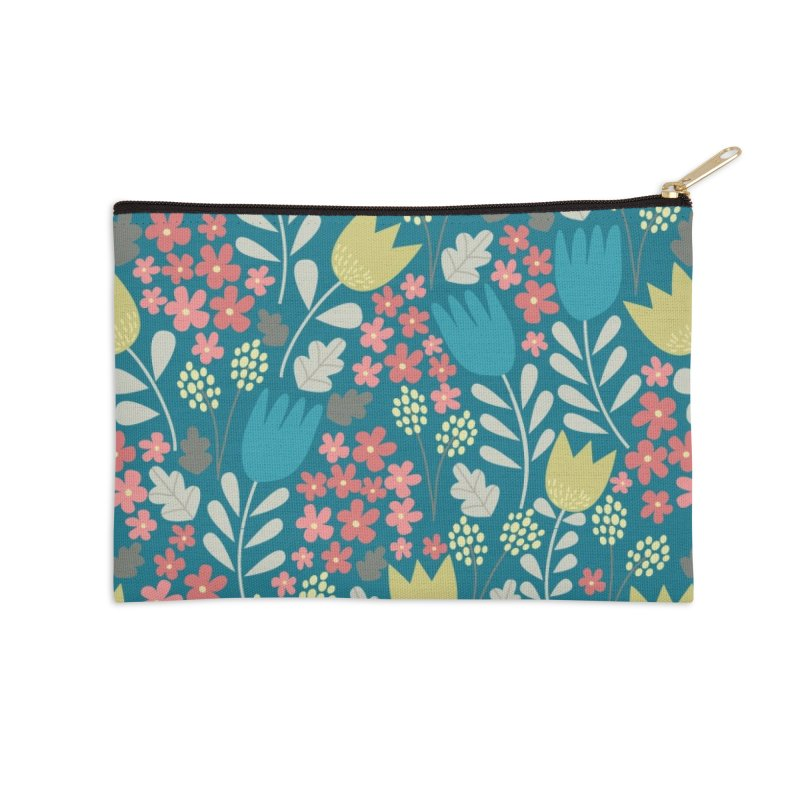 Meadow - Teal Accessories Zip Pouch by prettyprismatic's Artist Shop