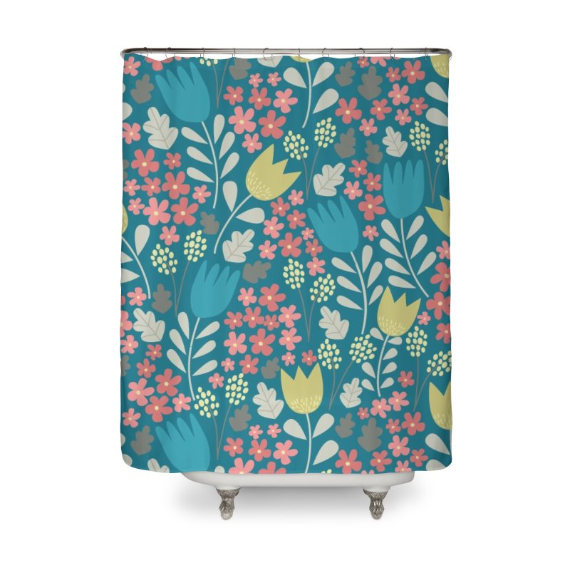 Meadow - Teal Home Shower Curtain by prettyprismatic's Artist Shop