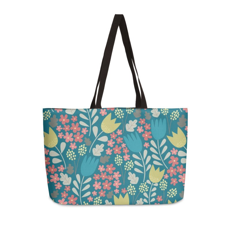 Meadow - Teal Accessories Weekender Bag Bag by prettyprismatic's Artist Shop
