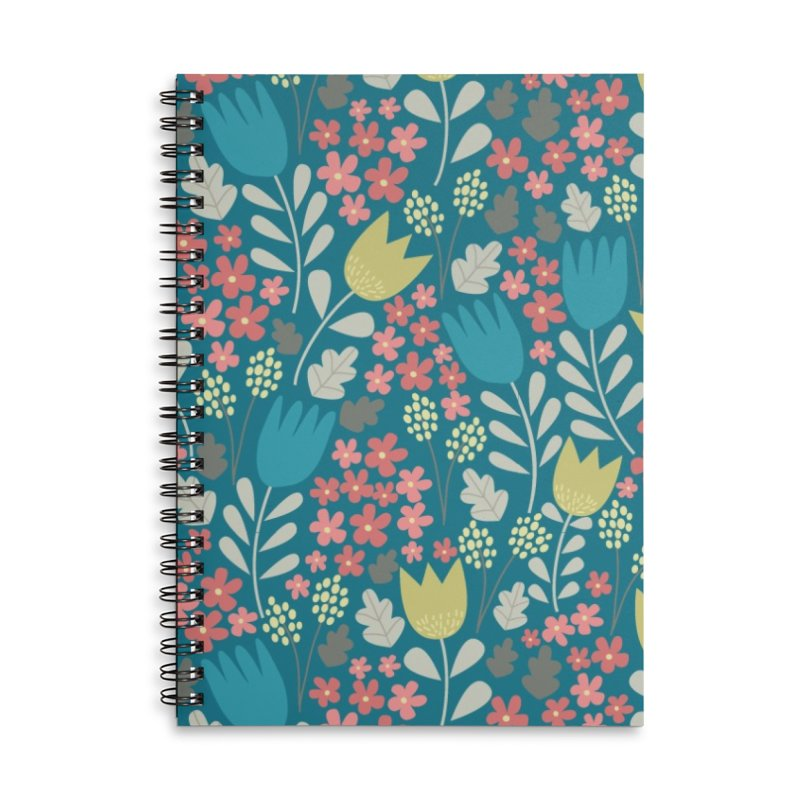 Meadow - Teal Accessories Lined Spiral Notebook by prettyprismatic's Artist Shop
