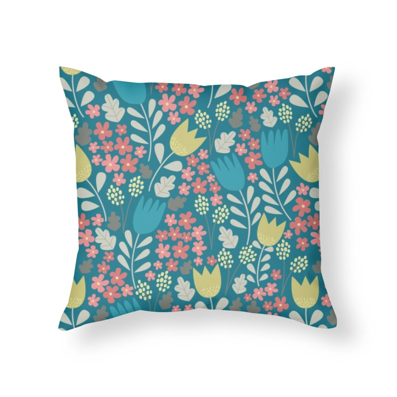 Meadow - Teal Home Throw Pillow by prettyprismatic's Artist Shop