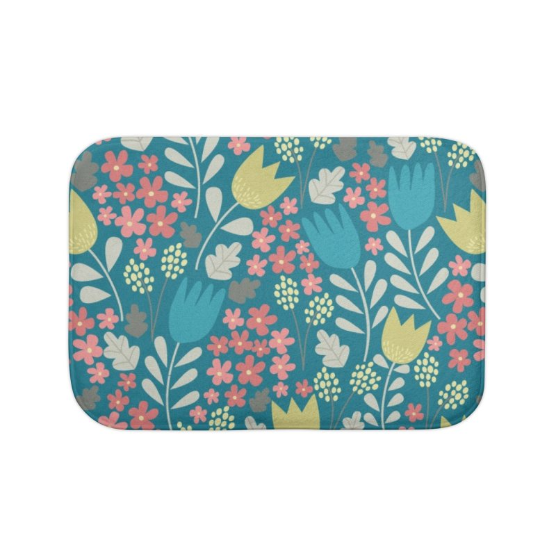 Meadow - Teal Home Bath Mat by prettyprismatic's Artist Shop
