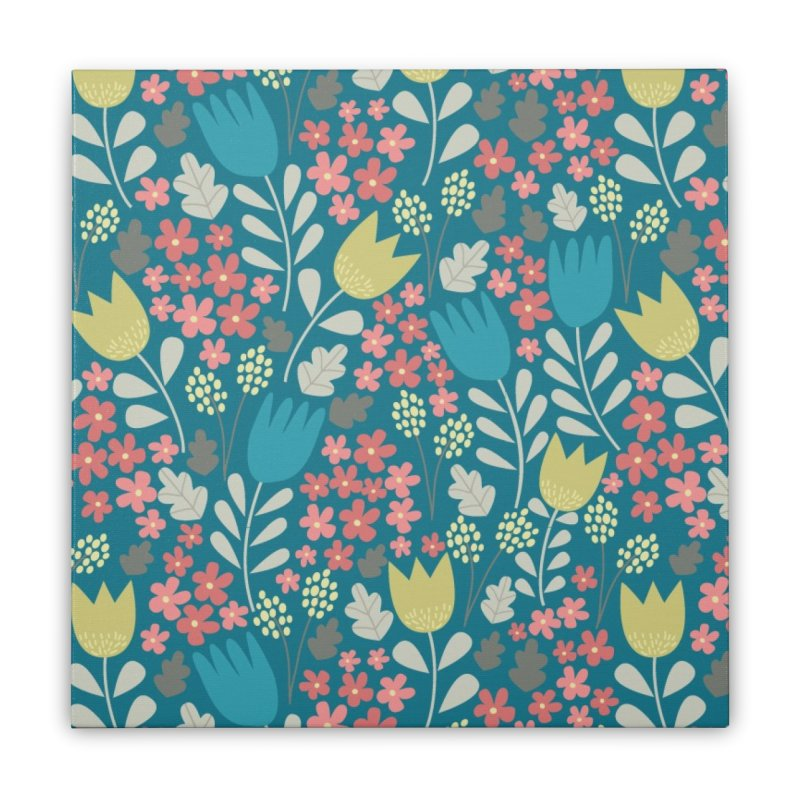 Meadow - Teal Home Stretched Canvas by prettyprismatic's Artist Shop