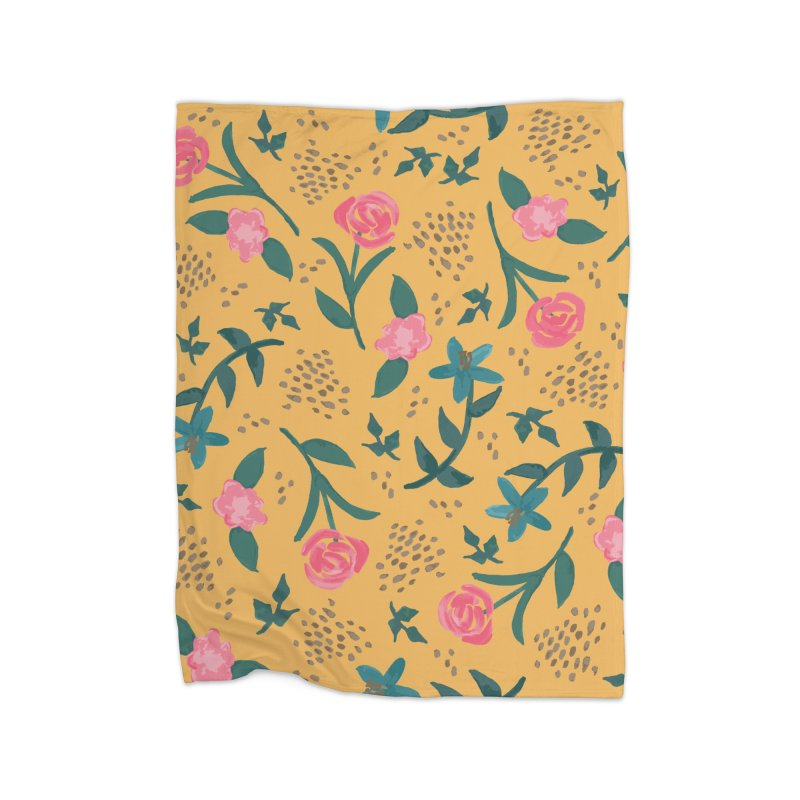 Watercolor Roses Pattern - Mustard Home Blanket by prettyprismatic's Artist Shop