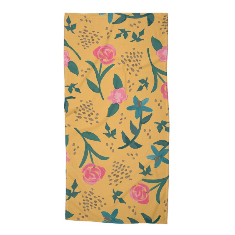 Watercolor Roses Pattern - Mustard Accessories Beach Towel by prettyprismatic's Artist Shop