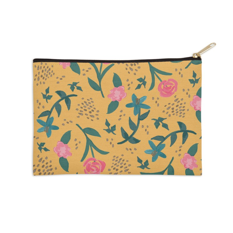 Watercolor Roses Pattern - Mustard Accessories Zip Pouch by prettyprismatic's Artist Shop