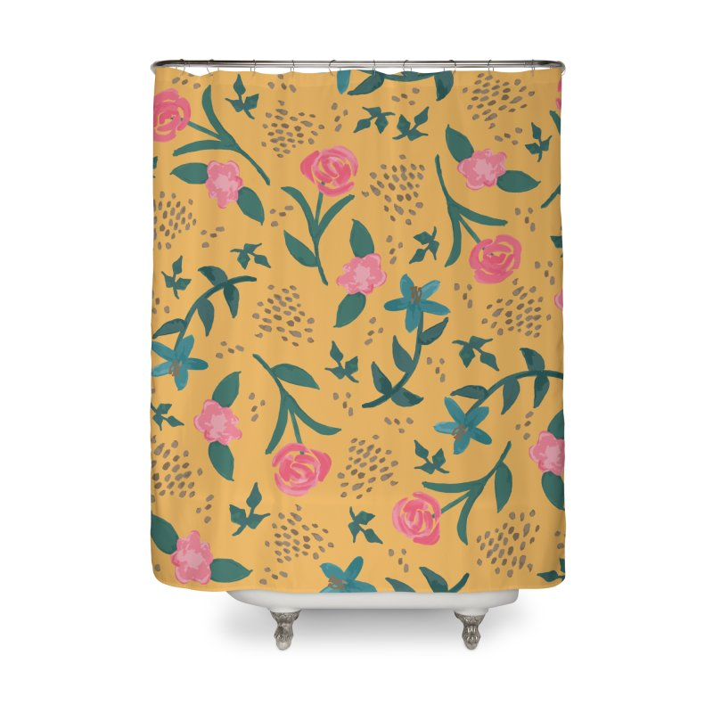 Watercolor Roses Pattern - Mustard Home Shower Curtain by prettyprismatic's Artist Shop