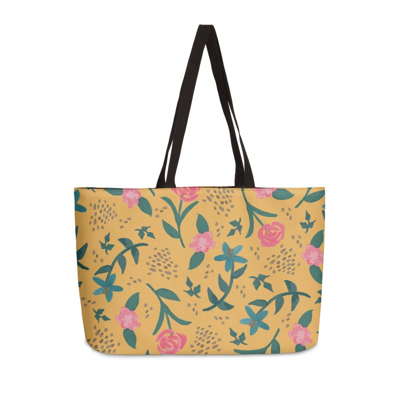 Watercolor Roses Pattern - Mustard Accessories Weekender Bag Bag by prettyprismatic's Artist Shop