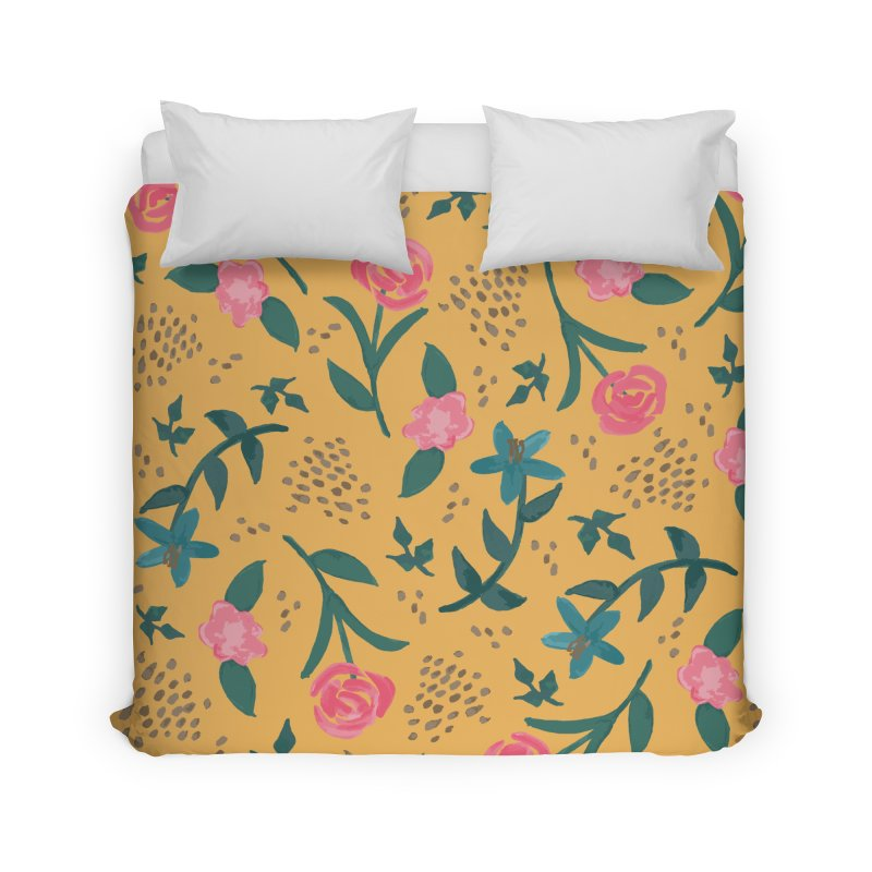 Watercolor Roses Pattern - Mustard Home Duvet by prettyprismatic's Artist Shop