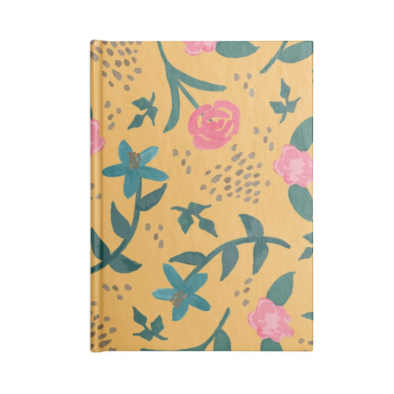Watercolor Roses Pattern - Mustard Accessories Blank Journal Notebook by prettyprismatic's Artist Shop