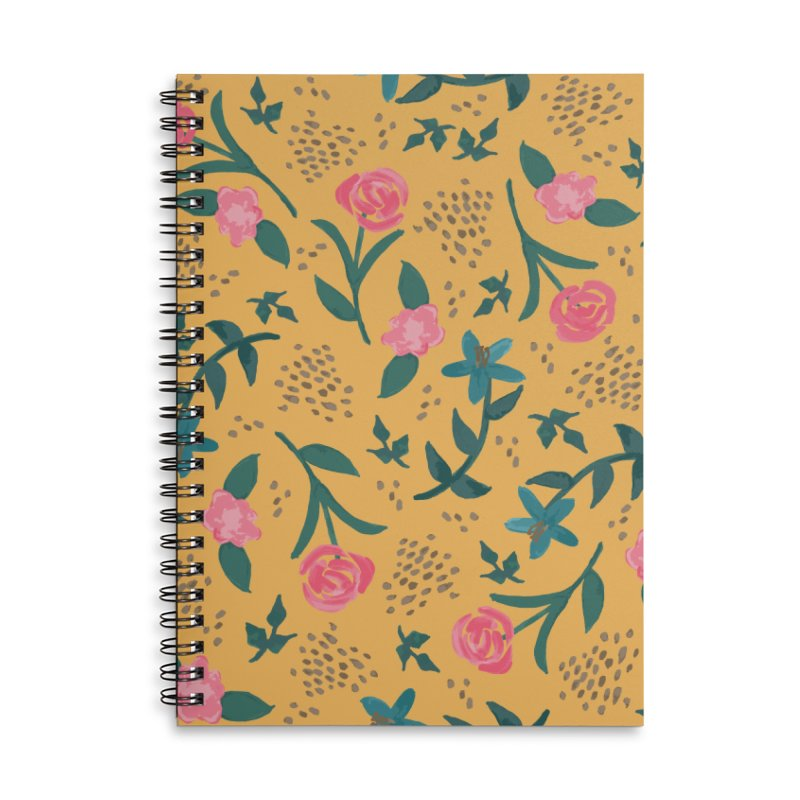 Watercolor Roses Pattern - Mustard Accessories Lined Spiral Notebook by prettyprismatic's Artist Shop