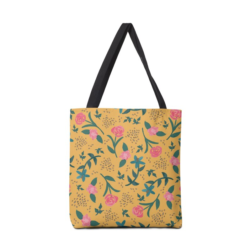 Watercolor Roses Pattern - Mustard Accessories Tote Bag Bag by prettyprismatic's Artist Shop