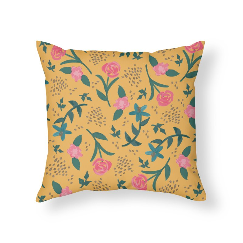 Watercolor Roses Pattern - Mustard Home Throw Pillow by prettyprismatic's Artist Shop