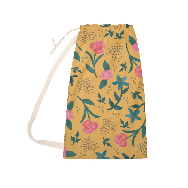 Watercolor Roses Pattern - Mustard Accessories Laundry Bag Bag by prettyprismatic's Artist Shop