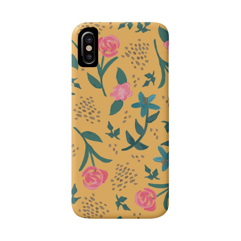 Watercolor Roses Pattern - Mustard Accessories Phone Case by prettyprismatic's Artist Shop