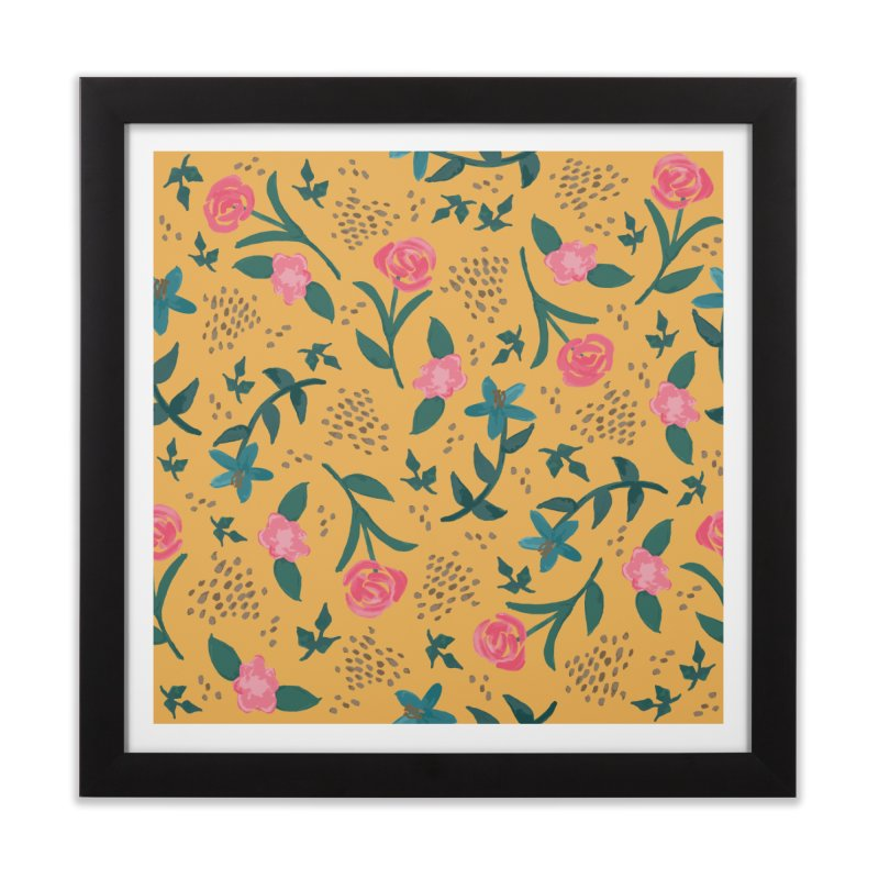 Watercolor Roses Pattern - Mustard Home Framed Fine Art Print by prettyprismatic's Artist Shop