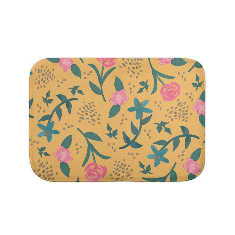 Watercolor Roses Pattern - Mustard Home Bath Mat by prettyprismatic's Artist Shop