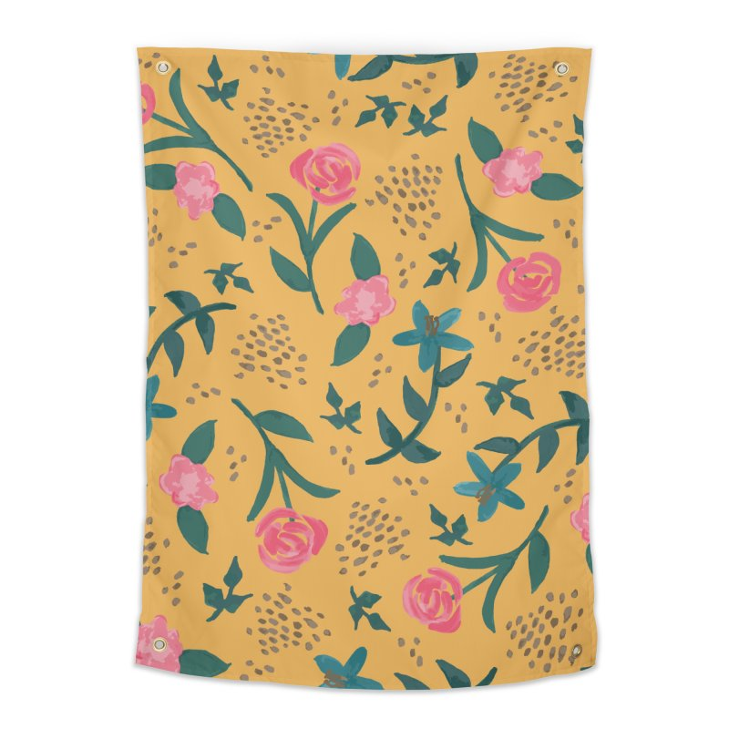 Watercolor Roses Pattern - Mustard Home Tapestry by prettyprismatic's Artist Shop