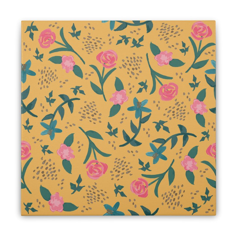 Watercolor Roses Pattern - Mustard Home Stretched Canvas by prettyprismatic's Artist Shop