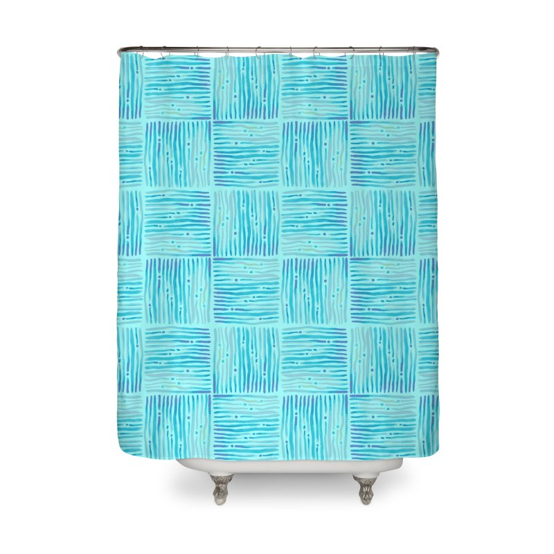 Watercolor Coastal Current Pattern Home Shower Curtain by prettyprismatic's Artist Shop