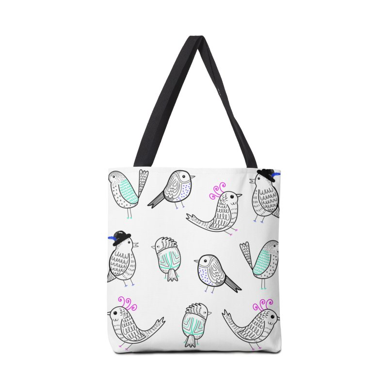Quirky Birds Accessories Bag by prettyprismatic's Artist Shop