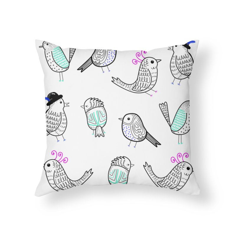 Quirky Birds Home Throw Pillow by prettyprismatic's Artist Shop