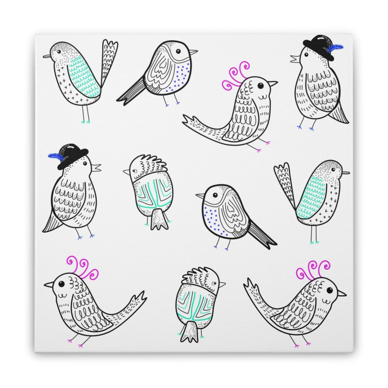 Quirky Birds Home Stretched Canvas by prettyprismatic's Artist Shop