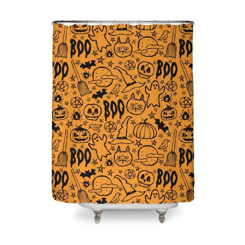 Spooky Halloween Pattern - Orange Home Shower Curtain by prettyprismatic's Artist Shop