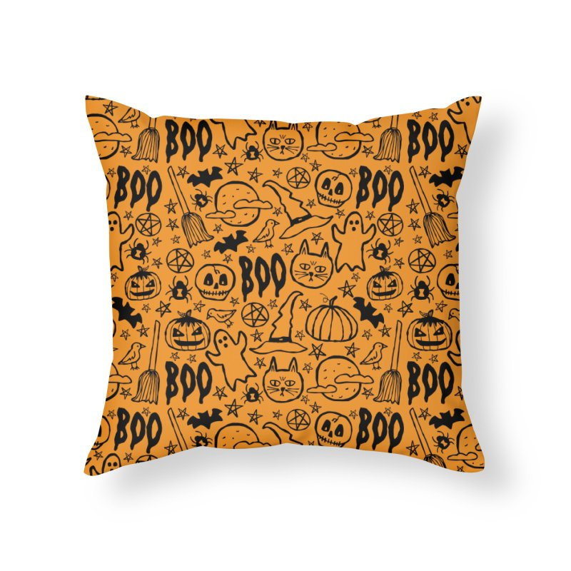 Spooky Halloween Pattern - Orange Home Throw Pillow by prettyprismatic's Artist Shop