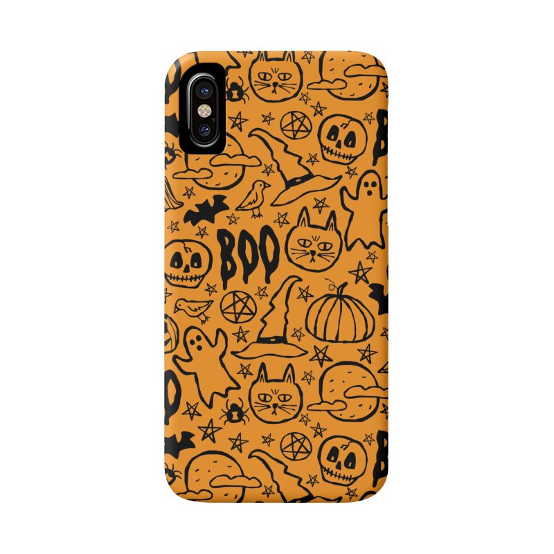 Spooky Halloween Pattern - Orange Accessories Phone Case by prettyprismatic's Artist Shop