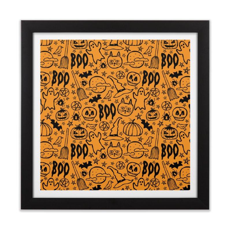 Spooky Halloween Pattern - Orange Home Framed Fine Art Print by prettyprismatic's Artist Shop