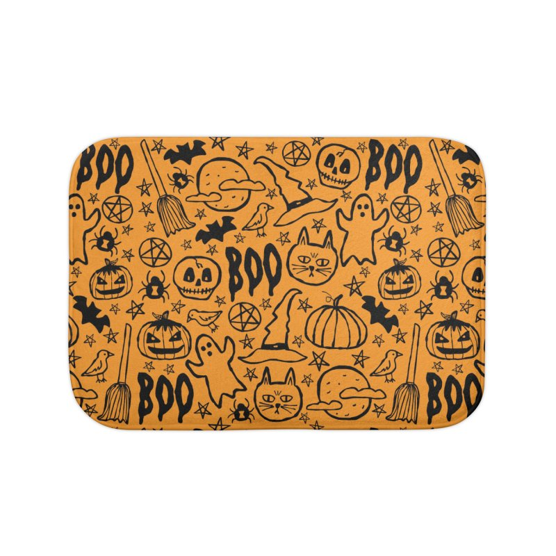 Spooky Halloween Pattern - Orange Home Bath Mat by prettyprismatic's Artist Shop